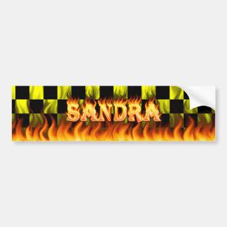 Wirkliches Feuer Sandra und Autoaufkleber