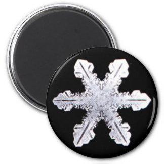 Wirkliches Schneeflocke-Bild Runder Magnet 5,7 Cm