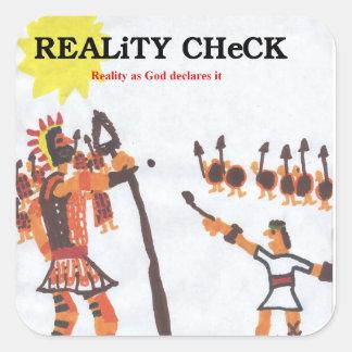 Wirklichkeits-Karo - David u. Goliath Quadratischer Aufkleber