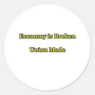 Wirtschaft ist die defekte Gewerkschaft, die das Runder Aufkleber