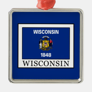 Wisconsin Quadratisches Silberfarbenes Ornament