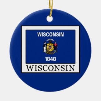 Wisconsin Rundes Keramik Ornament