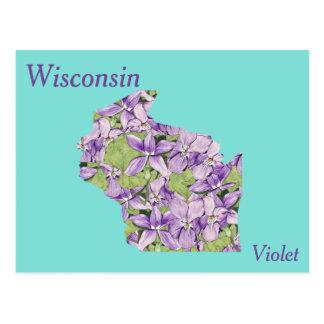 Wisconsin-Staats-Blumen-Collagen-Karte Postkarten