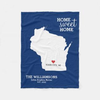Wisconsin-Staats-Karten-individuelle Namen, Fleecedecke