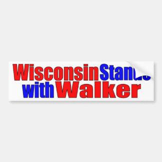 Wisconsin steht mit Wanderer Auto Sticker
