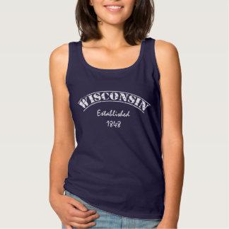 Wisconsin-Weiß-Buchstabe Tank Top
