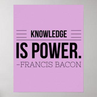 Wissen ist Power-Francis- Baconmotivations-Zitat Poster