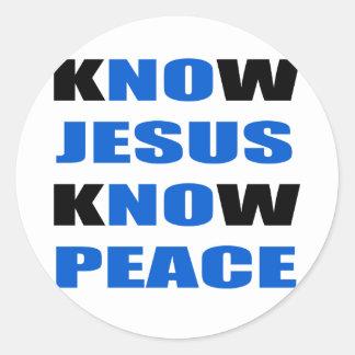 wissen Sie, dass Jesus Frieden wissen Runder Aufkleber