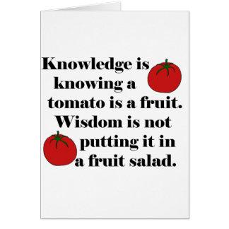 Wissen weiß, dass eine Tomate eine Frucht ist Karte