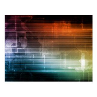 Wissenschafts-Hintergrund mit glühenden Techno Postkarte