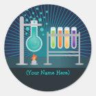 Wissenschafts-Laborgeburtstags-Aufkleber Runder Aufkleber