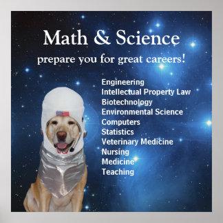 Wissenschafts-Mathe-niedliche Raum-Labrador-Sterne Poster