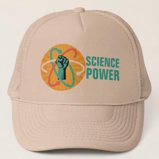Wissenschafts-Power-Faust u. Retro Atom auf Truckerkappe