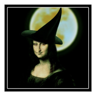 Witchy Frau Mona Lisa Halloween Poster