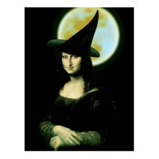 Witchy Frau Mona Lisa Halloween Postkarte