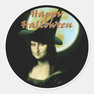 Witchy Frau Mona Lisa Halloween Runder Aufkleber