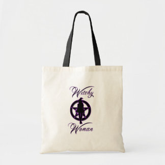 Witchy Frauen-Silhouette mit Pentagramm Tragetasche