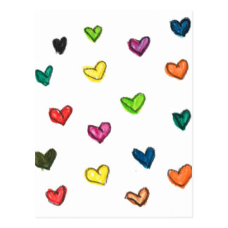 WITH_LOVE: Colorfull Herzmuster Postkarte