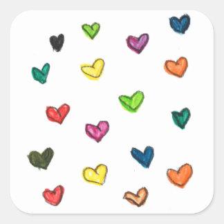 WITH_LOVE: Colorfull Herzmuster Quadratischer Aufkleber