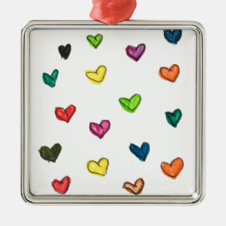 WITH_LOVE: Colorfull Herzmuster Quadratisches Silberfarbenes Ornament