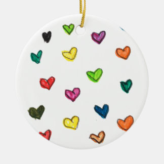 WITH_LOVE: Colorfull Herzmuster Rundes Keramik Ornament
