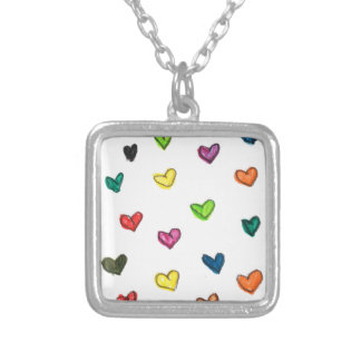 WITH_LOVE: Colorfull Herzmuster Versilberte Kette