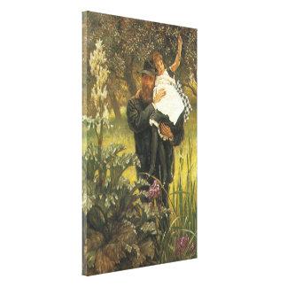 Witwer durch Tissot, Vintage viktorianische Leinwanddruck