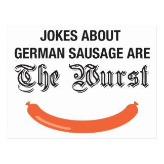 Witze über deutsche Wurst sind der Wurst Postkarte