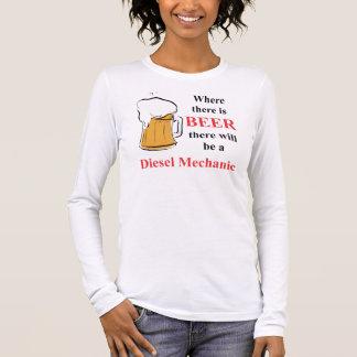 Wo es Bier - Dieselmechaniker gibt Langarm T-Shirt