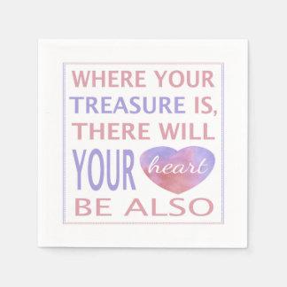 Wo Ihr Schatz dort ist, ist Ihr Herz Servietten