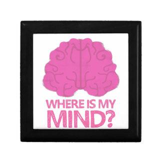 wo ist mein Verstand? mit rosa Gehirn Geschenkbox