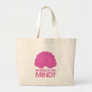 wo ist mein Verstand? mit rosa Gehirn Jumbo Stoffbeutel