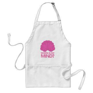 wo ist mein Verstand? mit rosa Gehirn Schürze