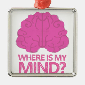 wo ist mein Verstand? mit rosa Gehirn Silbernes Ornament