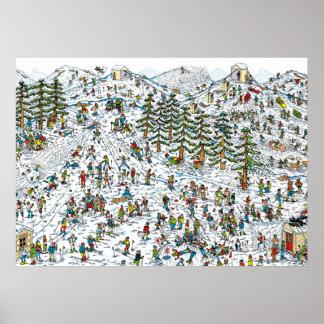 Wo ist, neigt sich Waldo Ski Poster