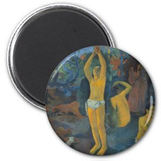 """""""Wo tun Sie, kommen wir von?"""" - Paul Gauguin-Knopf Runder Magnet 5,1 Cm"""
