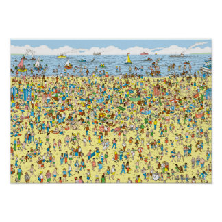 Wo Waldo auf dem Strand ist Poster