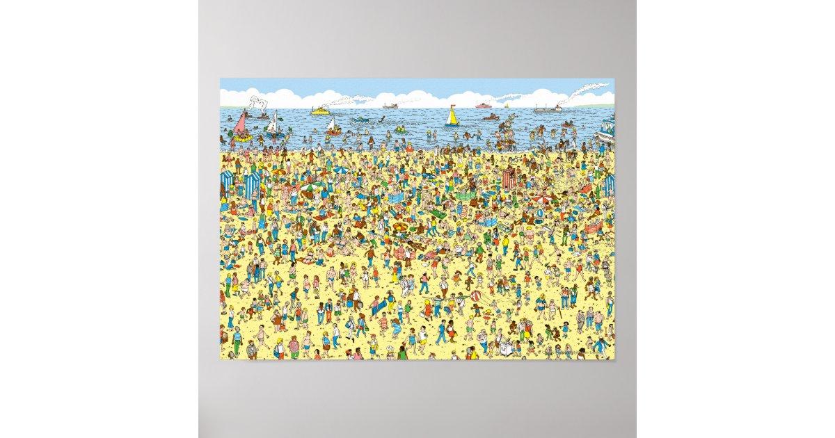 Wo Waldo auf dem Strand ist Poster | Zazzle