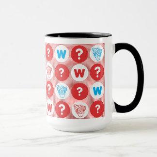 Wo Waldo Rot-, weißes und Blauesmuster ist Tasse