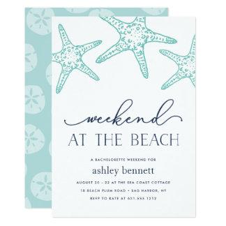 Wochenende Aquastarfish-| an der Strand-Einladung Karte