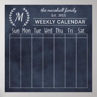Wöchentliches Tafel-Monogramm des Poster