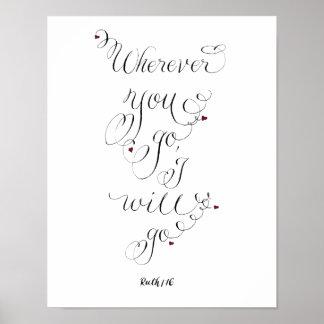 Wohin Sie Typografie-Liebezitat gehen Poster