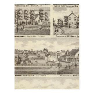 Wohnsitze, Bauernhöfe und Fabrik, Vandalia, Postkarte