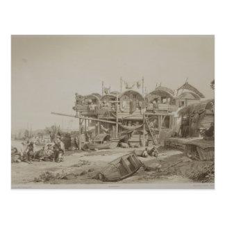 Wohnung für die Armen im inneren Hafen von Macao, Postkarte