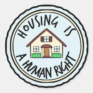 Wohnung ist ein Menschenrechts-Aufkleber Runder Aufkleber