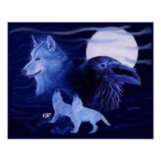 Wolf and Raven with full moon Poster