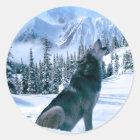 Wolf-Anruf Runder Aufkleber