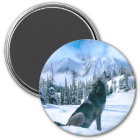 Wolf-Anruf Runder Magnet 7,6 Cm