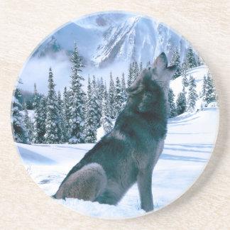 Wolf-Anruf Sandstein Untersetzer
