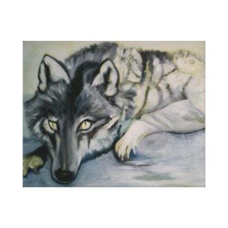 Wolf auf Kampagnenverpackung Leinwanddruck
